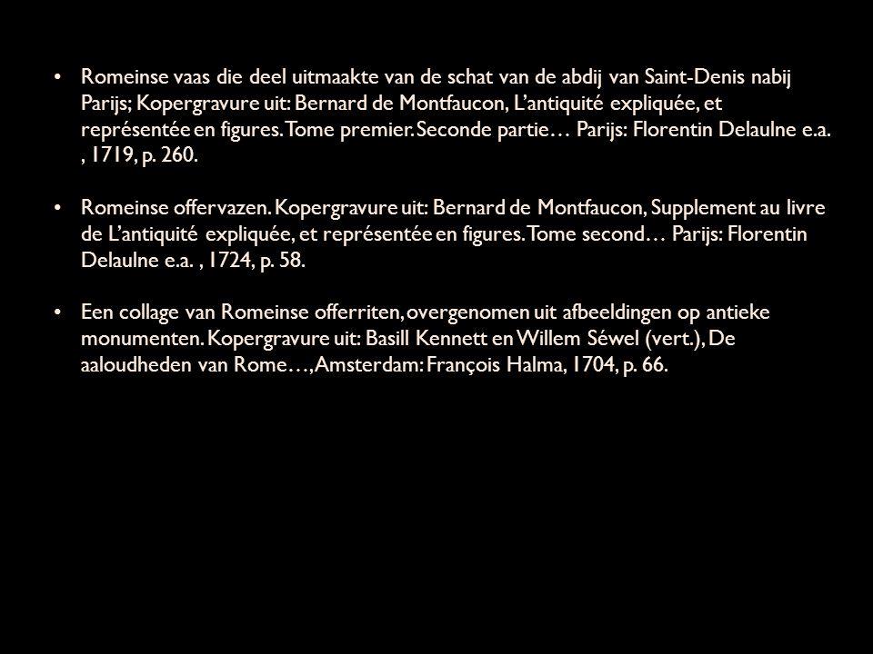 Romeinse vaas die deel uitmaakte van de schat van de abdij van Saint-Denis nabij Parijs; Kopergravure uit: Bernard de Montfaucon, L'antiquité expliquée, et représentée en figures.