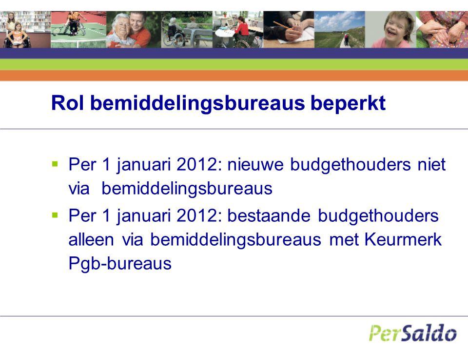 Rol bemiddelingsbureaus beperkt  Per 1 januari 2012: nieuwe budgethouders niet via bemiddelingsbureaus  Per 1 januari 2012: bestaande budgethouders