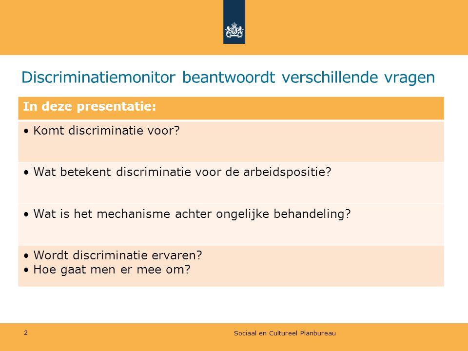 Discriminatiemonitor beantwoordt verschillende vragen In deze presentatie: Komt discriminatie voor? Wat betekent discriminatie voor de arbeidspositie?