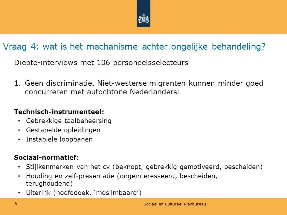 Vraag 4: wat is het mechanisme achter ongelijke behandeling? Diepte-interviews met 106 personeelsselecteurs 1.Geen discriminatie. Niet-westerse migran