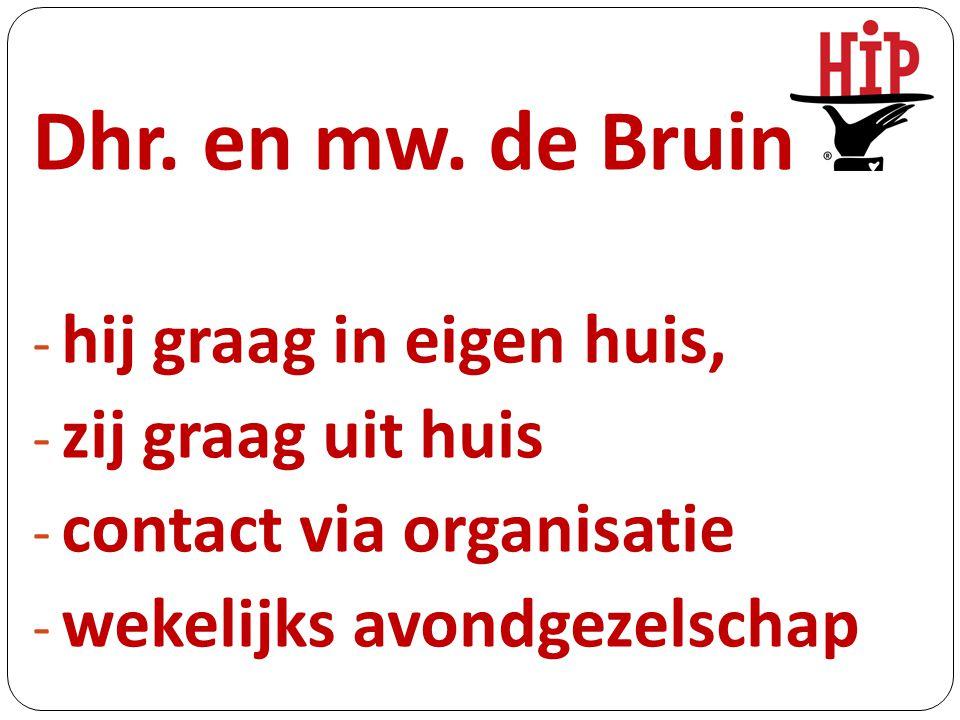 Dhr. en mw. de Bruin - hij graag in eigen huis, - zij graag uit huis - contact via organisatie - wekelijks avondgezelschap