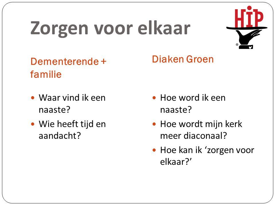 Zorgen voor elkaar Dementerende + familie Diaken Groen Waar vind ik een naaste? Wie heeft tijd en aandacht? Hoe word ik een naaste? Hoe wordt mijn ker