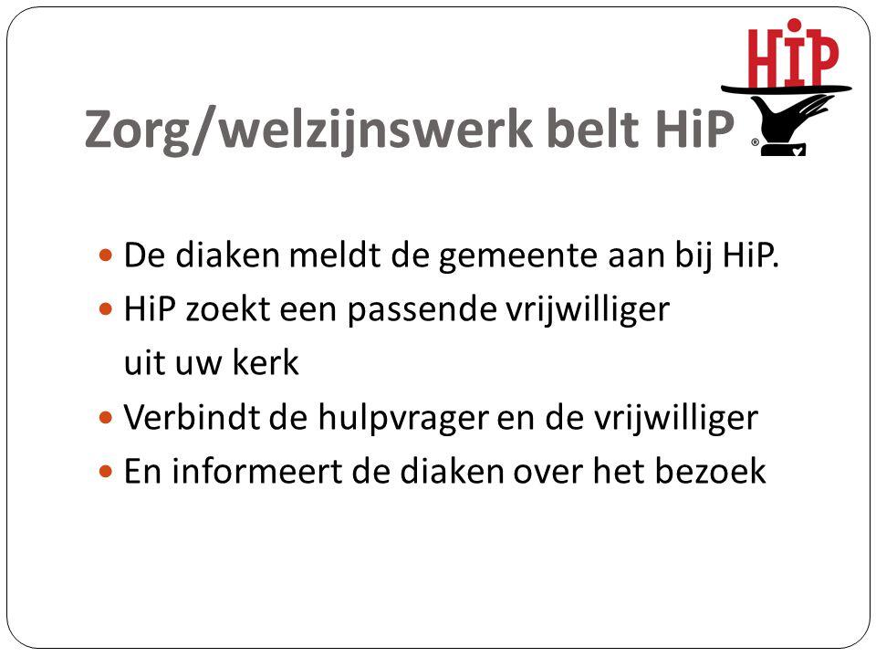 Zorg/welzijnswerk belt HiP De diaken meldt de gemeente aan bij HiP. HiP zoekt een passende vrijwilliger uit uw kerk Verbindt de hulpvrager en de vrijw