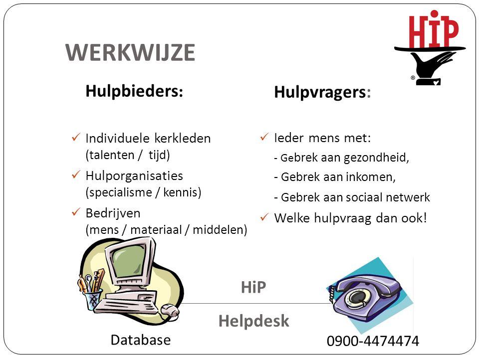 WERKWIJZE Hulpbieders : Individuele kerkleden (talenten / tijd) Hulporganisaties (specialisme / kennis) Bedrijven (mens / materiaal / middelen) Hulpvr