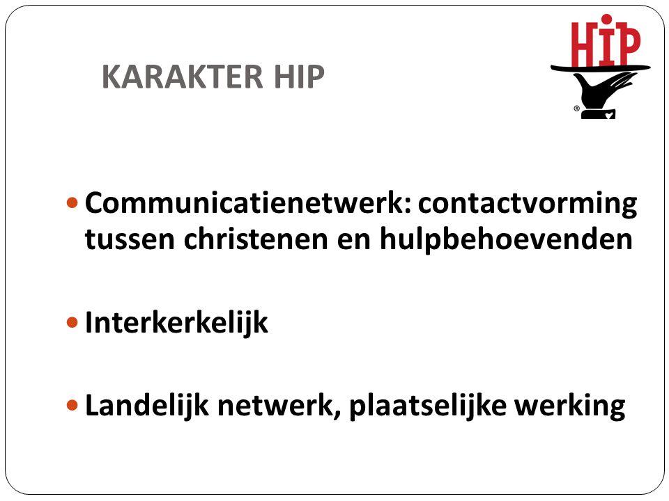 KARAKTER HIP Communicatienetwerk: contactvorming tussen christenen en hulpbehoevenden Interkerkelijk Landelijk netwerk, plaatselijke werking
