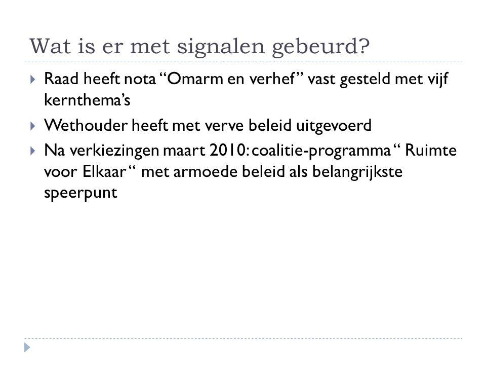 """Wat is er met signalen gebeurd?  Raad heeft nota """"Omarm en verhef"""" vast gesteld met vijf kernthema's  Wethouder heeft met verve beleid uitgevoerd """