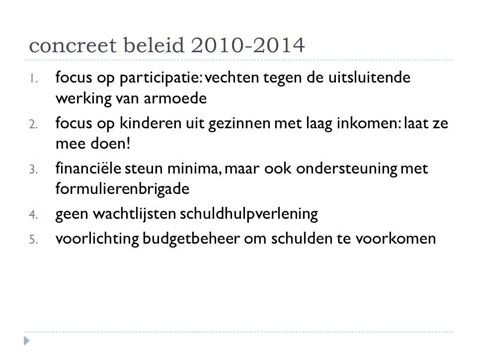 concreet beleid 2010-2014 1. focus op participatie: vechten tegen de uitsluitende werking van armoede 2. focus op kinderen uit gezinnen met laag inkom