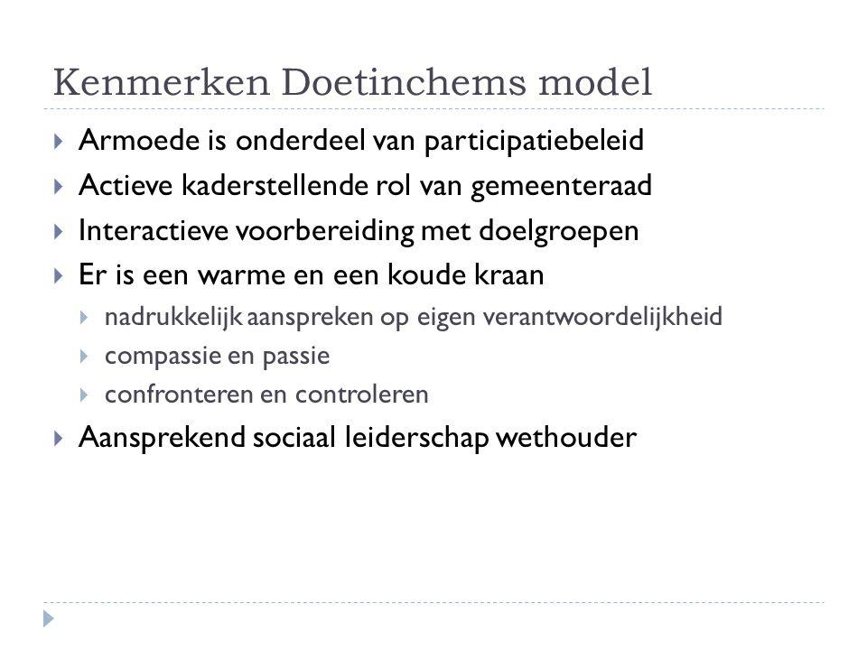 Kenmerken Doetinchems model  Armoede is onderdeel van participatiebeleid  Actieve kaderstellende rol van gemeenteraad  Interactieve voorbereiding m