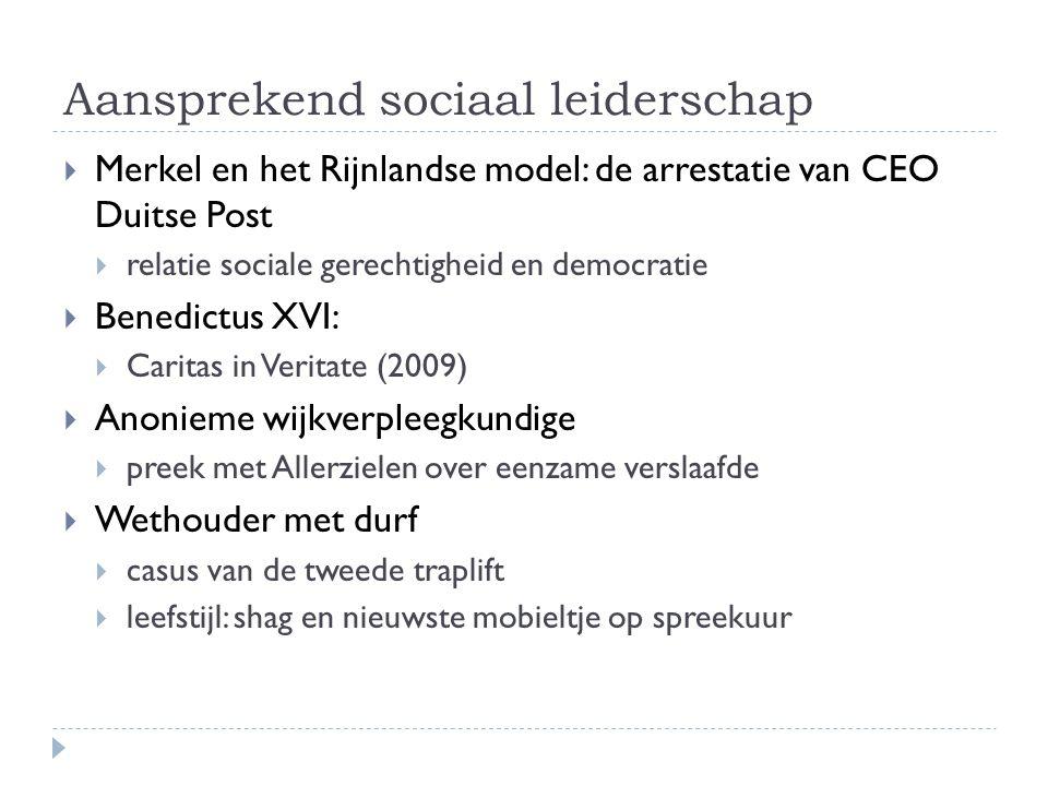 Aansprekend sociaal leiderschap  Merkel en het Rijnlandse model: de arrestatie van CEO Duitse Post  relatie sociale gerechtigheid en democratie  Be
