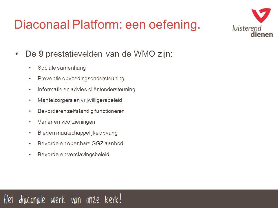 Diaconaal Platform: een oefening. De 9 prestatievelden van de WMO zijn: Sociale samenhang Preventie opvoedingsondersteuning Informatie en advies cliën