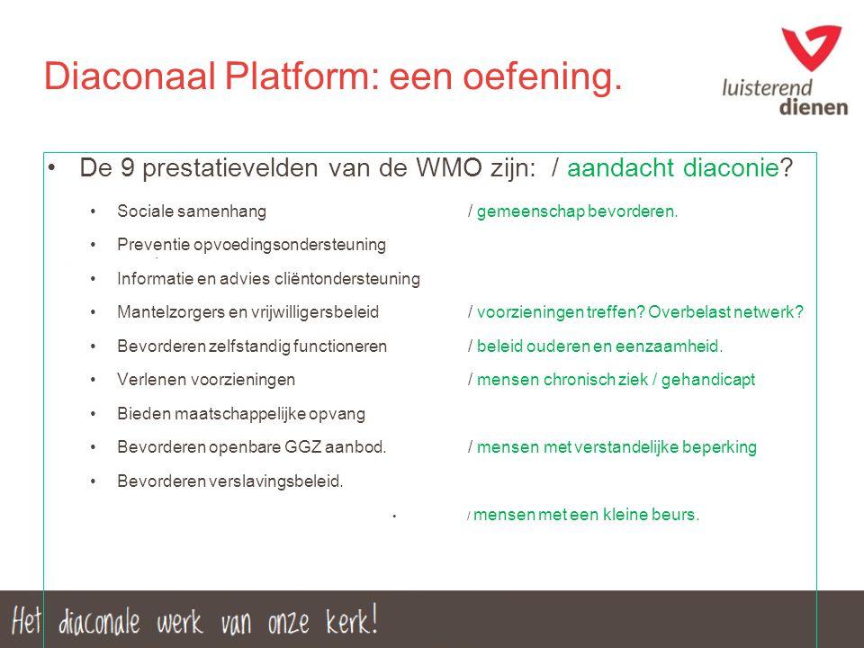Diaconaal Platform: een oefening. De 9 prestatievelden van de WMO zijn: / aandacht diaconie? Sociale samenhang/ gemeenschap bevorderen. Preventie opvo