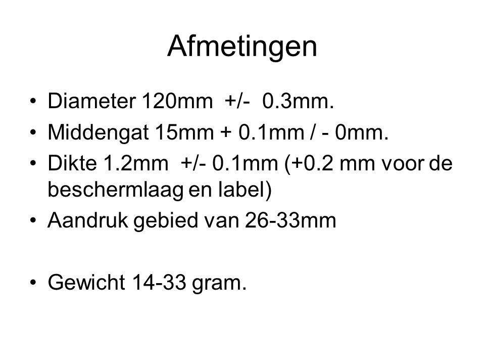 Afmetingen Diameter 120mm +/- 0.3mm. Middengat 15mm + 0.1mm / - 0mm. Dikte 1.2mm +/- 0.1mm (+0.2 mm voor de beschermlaag en label) Aandruk gebied van