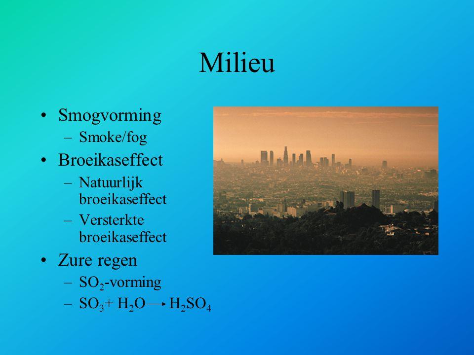 Milieu Smogvorming –Smoke/fog Broeikaseffect –Natuurlijk broeikaseffect –Versterkte broeikaseffect Zure regen –SO 2 -vorming –SO 3 + H 2 O H 2 SO 4