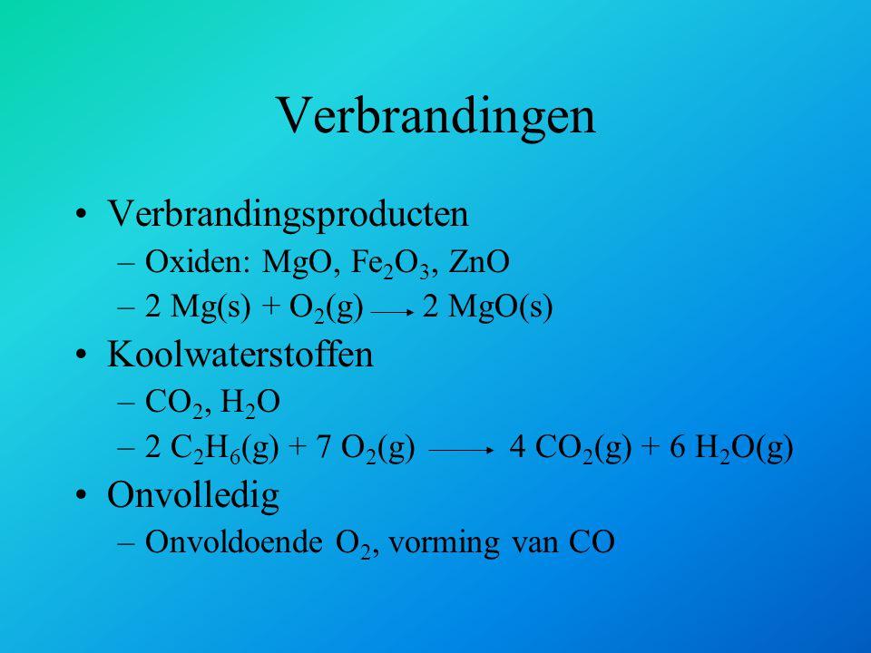 Verbrandingsproducten –Oxiden: MgO, Fe 2 O 3, ZnO –2 Mg(s) + O 2 (g) 2 MgO(s) Koolwaterstoffen –CO 2, H 2 O –2 C 2 H 6 (g) + 7 O 2 (g)4 CO 2 (g) + 6 H
