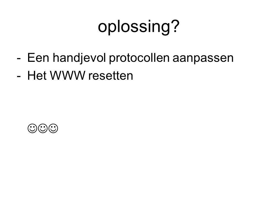 oplossing -Een handjevol protocollen aanpassen -Het WWW resetten