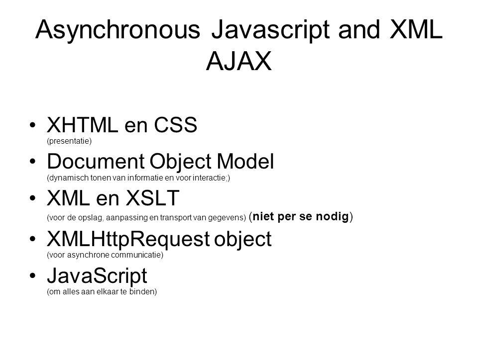 Asynchronous Javascript and XML AJAX XHTML en CSS (presentatie) Document Object Model (dynamisch tonen van informatie en voor interactie;) XML en XSLT (voor de opslag, aanpassing en transport van gegevens) (niet per se nodig) XMLHttpRequest object (voor asynchrone communicatie) JavaScript (om alles aan elkaar te binden)