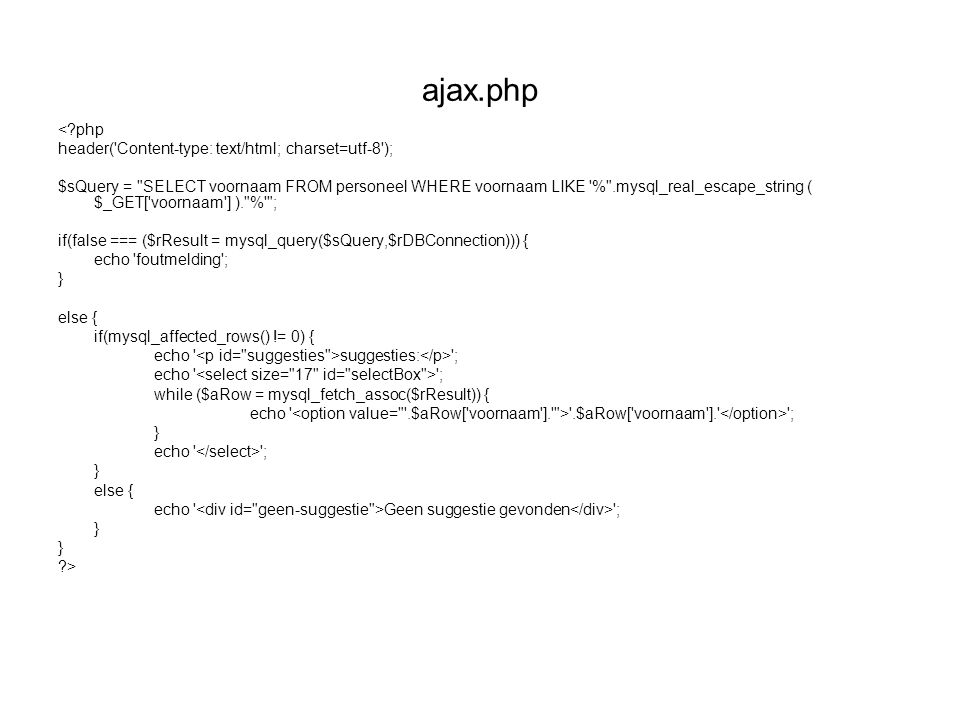 ajax.php <?php header('Content-type: text/html; charset=utf-8'); $sQuery =