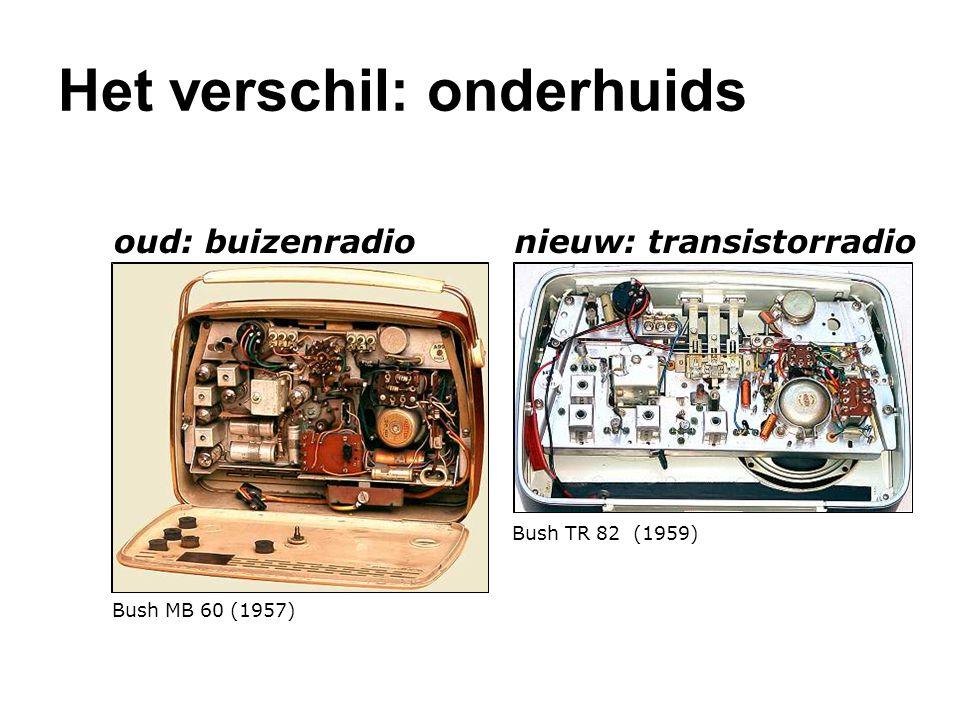 oud: buizenradio Bush MB 60 (1957) nieuw: transistorradio Bush TR 82 (1959) Het verschil: onderhuids