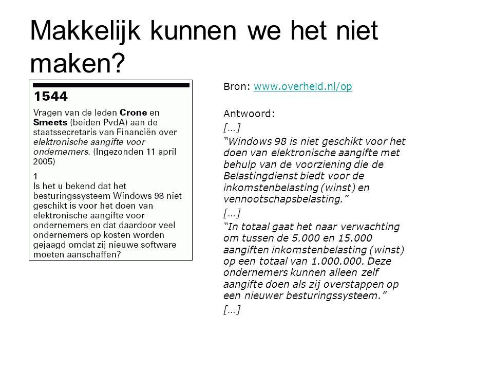 """Makkelijk kunnen we het niet maken? Bron: www.overheid.nl/opwww.overheid.nl/op Antwoord: […] """"Windows 98 is niet geschikt voor het doen van elektronis"""
