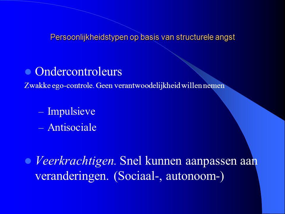 Persoonlijkheidstypen op basis van structurele angst Ondercontroleurs Zwakke ego-controle.