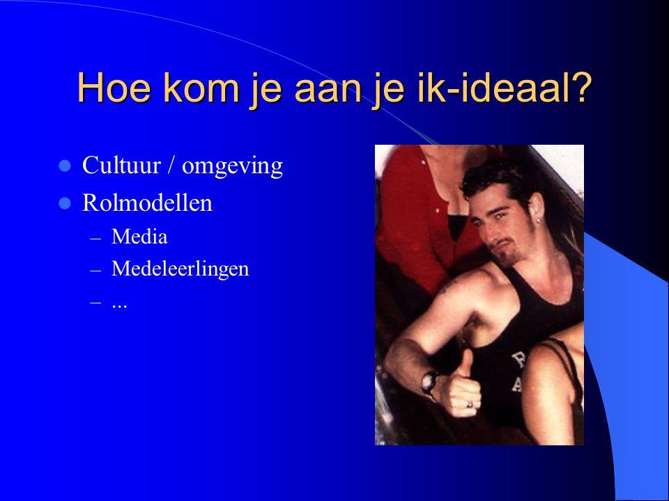 Hoe kom je aan je ik-ideaal? Cultuur / omgeving Rolmodellen – Media – Medeleerlingen –...
