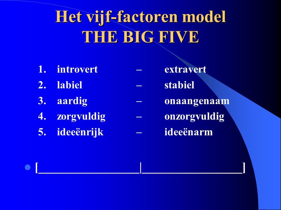 Het vijf-factoren model THE BIG FIVE 1.introvert – extravert 2.