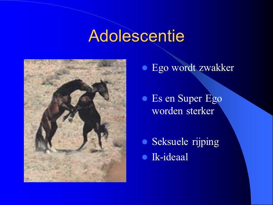 Adolescentie Ego wordt zwakker Es en Super Ego worden sterker Seksuele rijping Ik-ideaal