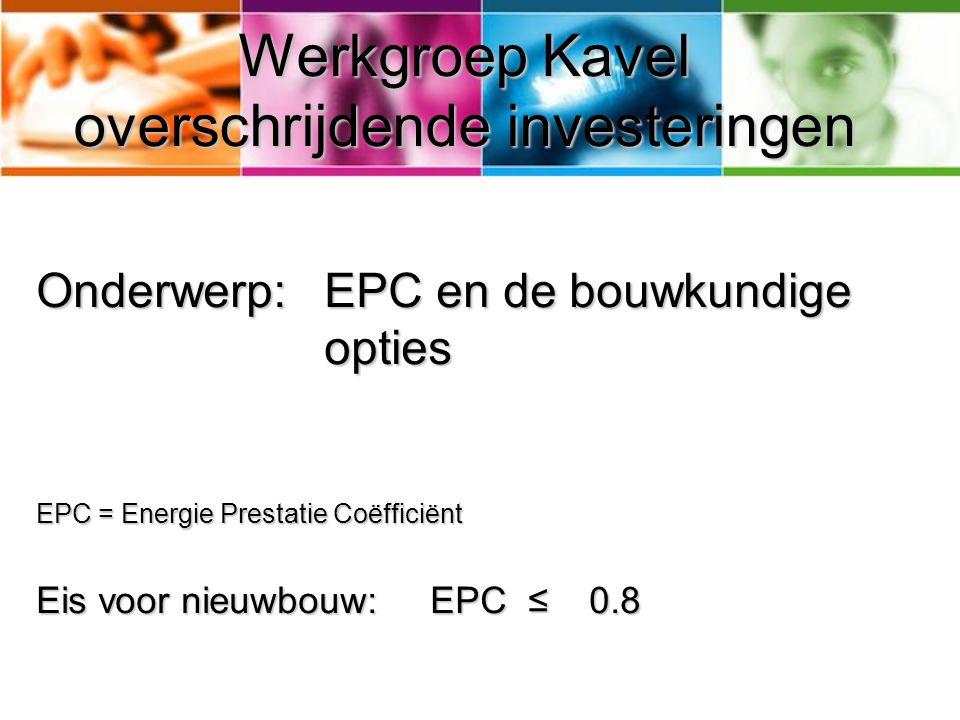 Werkgroep Kavel overschrijdende investeringen Onderwerp: EPC en de bouwkundige opties EPC = Energie Prestatie Coëfficiënt Eis voor nieuwbouw: EPC ≤ 0.8