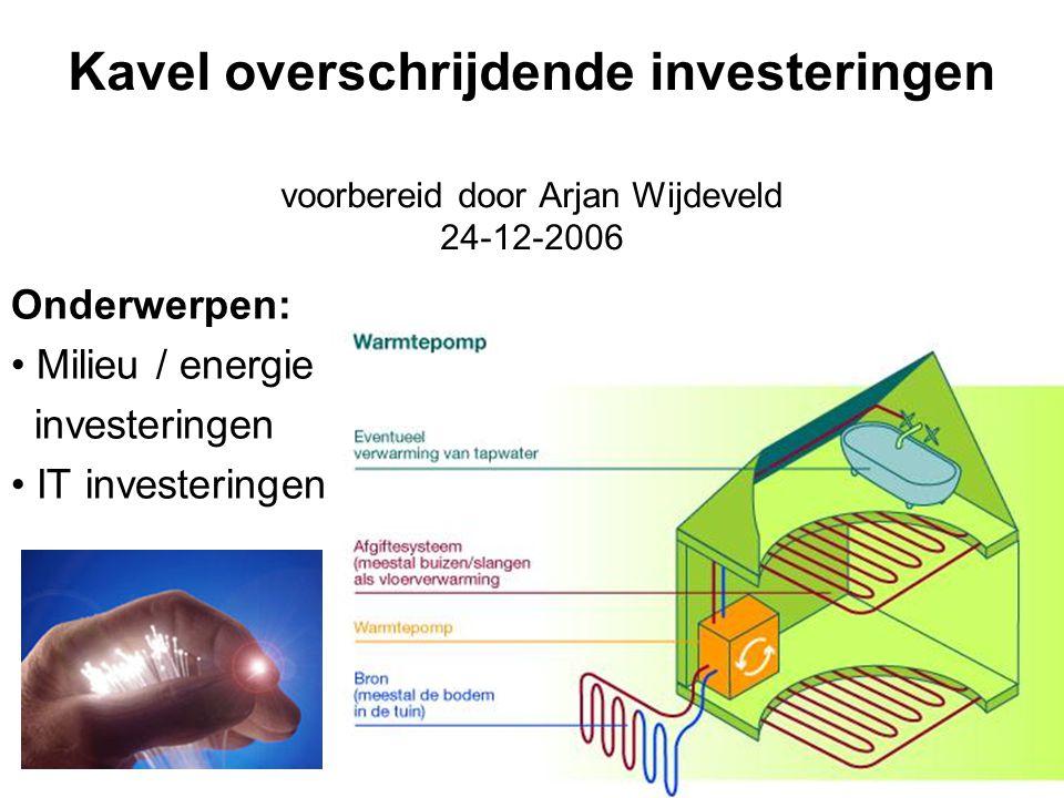 Kavel overschrijdende investeringen voorbereid door Arjan Wijdeveld 24-12-2006 Onderwerpen: Milieu / energie investeringen IT investeringen