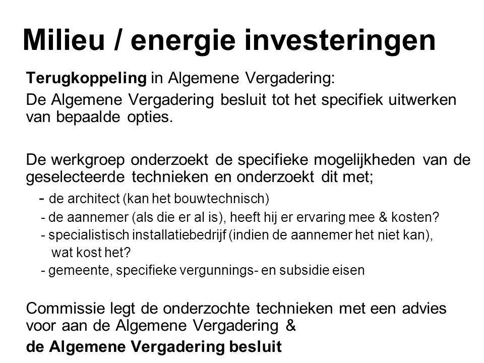 Milieu / energie investeringen Terugkoppeling in Algemene Vergadering: De Algemene Vergadering besluit tot het specifiek uitwerken van bepaalde opties.