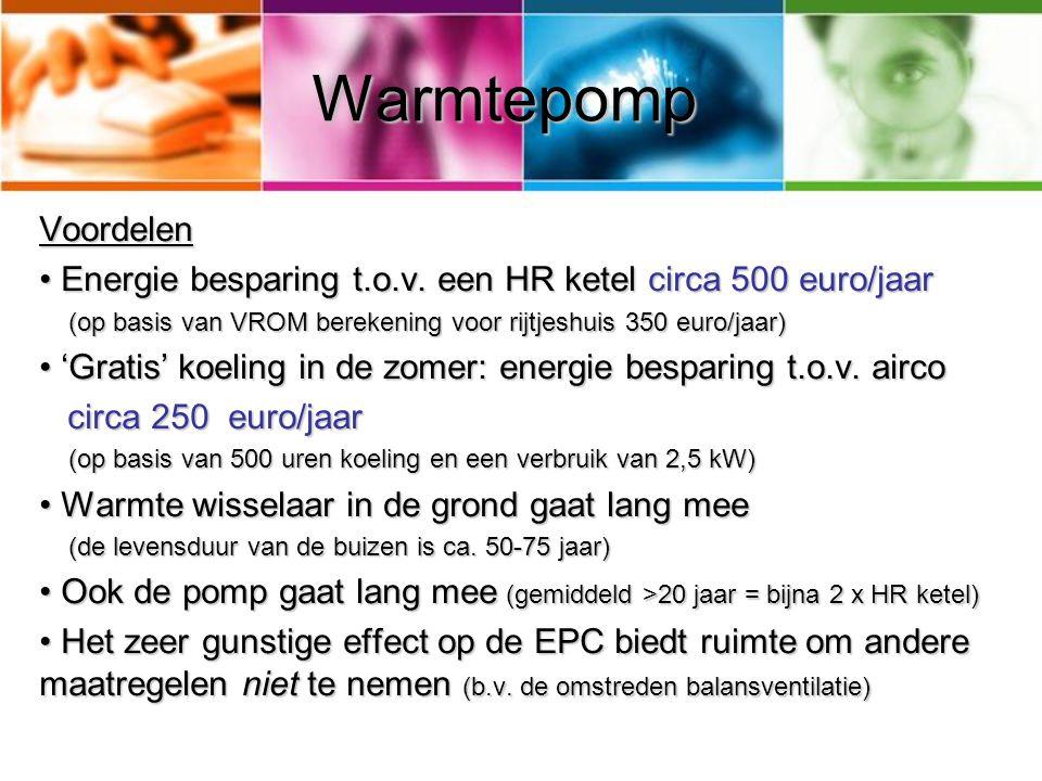 Warmtepomp Nadelen Duurder dan een HR ketel Duurder dan een HR ketel (warmtepomp € 5.000,- tot € 9.000,- (warmtepomp € 5.000,- tot € 9.000,- + boorkosten + vergunning leges versus € € 1600 voor HR ketel + optionele airco) Alleen te combineren met lage temperatuurverwarming Alleen te combineren met lage temperatuurverwarming (vloer-, muur-, of luchtverwarming) (vloer-, muur-, of luchtverwarming) – Dit vraagt een extra investering (circa € 5.000) – Tragere reactie op temperatuurschommelingen