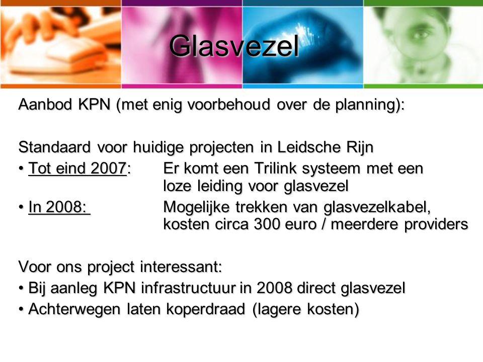 Glasvezel Aanbod KPN (met enig voorbehoud over de planning): Standaard voor huidige projecten in Leidsche Rijn Tot eind 2007: Er komt een Trilink syst