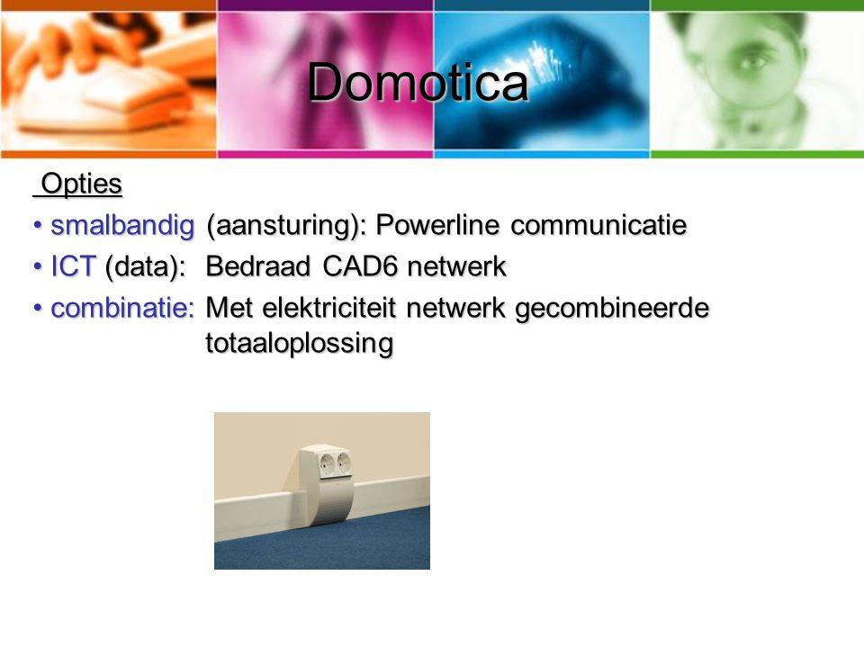 Domotica Opties Opties smalbandig (aansturing): Powerline communicatie smalbandig (aansturing): Powerline communicatie ICT (data): Bedraad CAD6 netwer