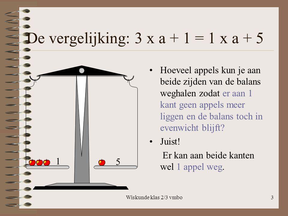 Wiskunde klas 2/3 vmbo3 De vergelijking: 3 x a + 1 = 1 x a + 5 Hoeveel appels kun je aan beide zijden van de balans weghalen zodat er aan 1 kant geen appels meer liggen en de balans toch in evenwicht blijft.