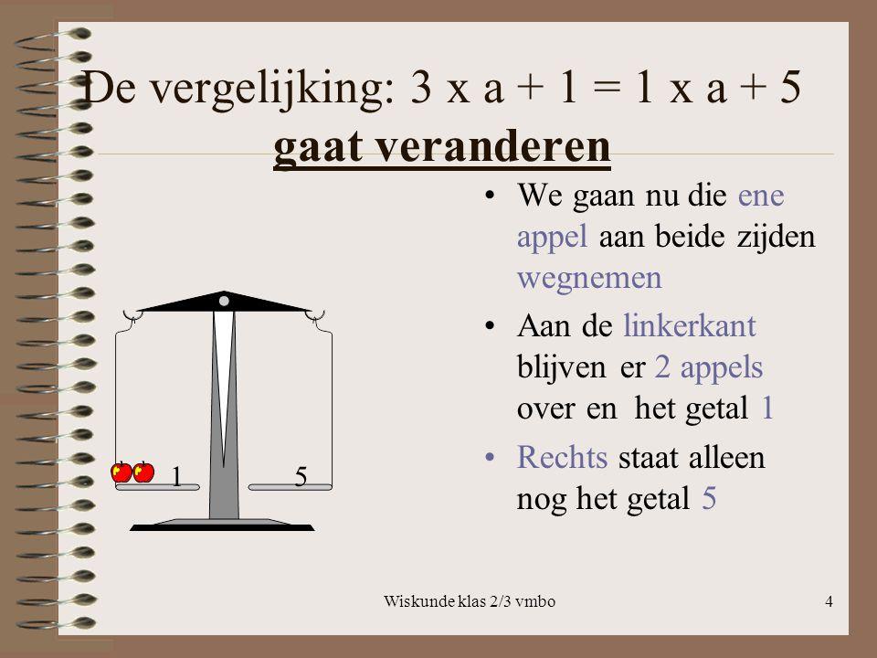 Wiskunde klas 2/3 vmbo4 De vergelijking: 3 x a + 1 = 1 x a + 5 gaat veranderen We gaan nu die ene appel aan beide zijden wegnemen Aan de linkerkant blijven er 2 appels over en het getal 1 Rechts staat alleen nog het getal 5 15