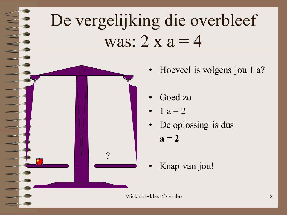 Wiskunde klas 2/3 vmbo8 De vergelijking die overbleef was: 2 x a = 4 Hoeveel is volgens jou 1 a.