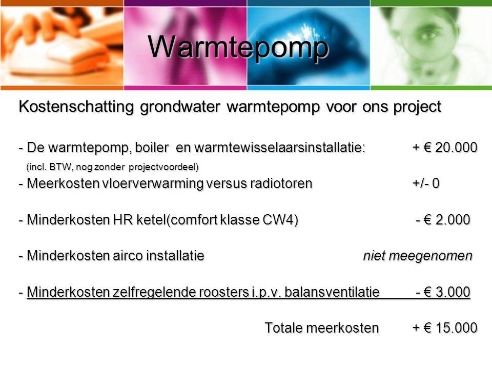 Warmtepomp Kostenschatting grondwater warmtepomp voor ons project - De warmtepomp, boiler en warmtewisselaarsinstallatie:+ € 20.000 (incl. BTW, nog zo