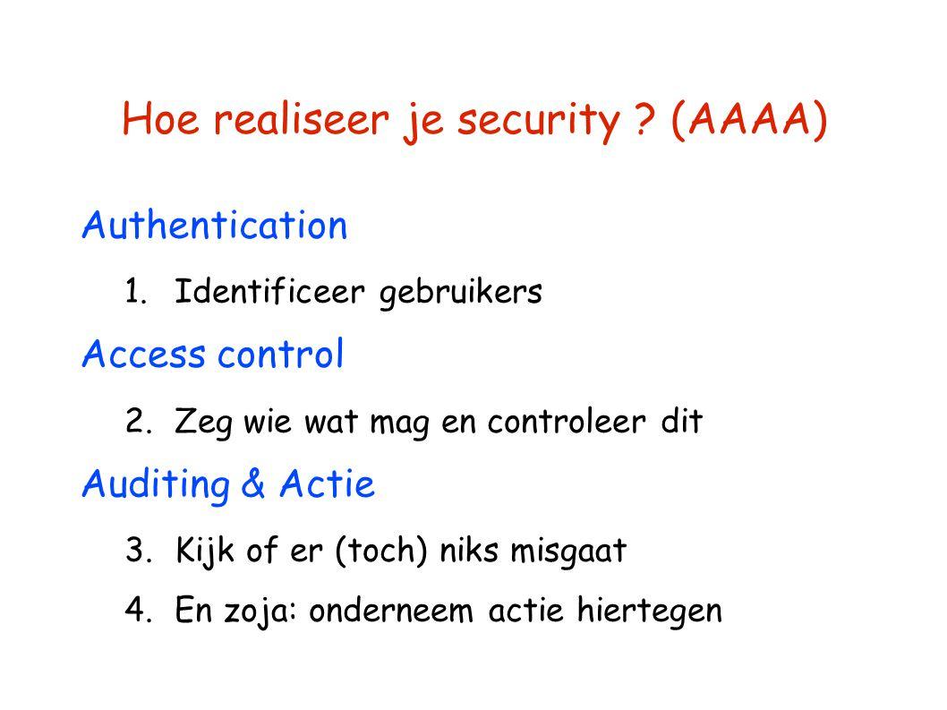 Hoe realiseer je security ? (AAAA) Authentication 1.Identificeer gebruikers Access control 2.Zeg wie wat mag en controleer dit Auditing & Actie 3.Kijk