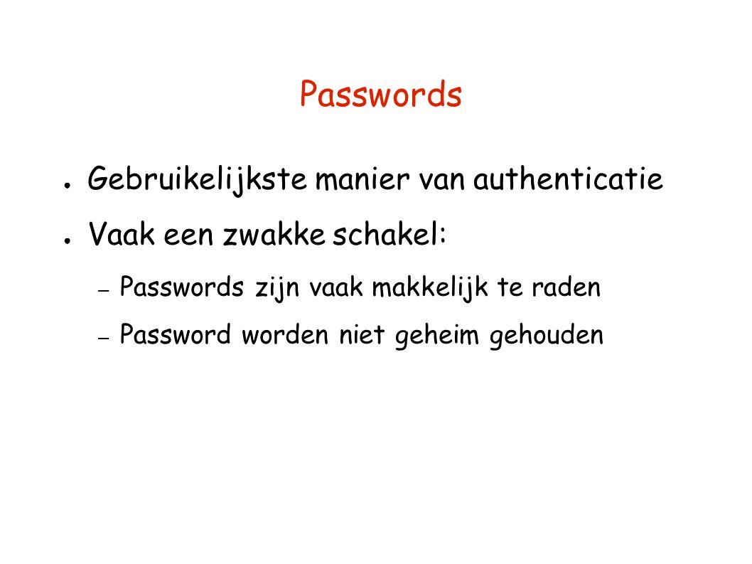 Passwords ● Gebruikelijkste manier van authenticatie ● Vaak een zwakke schakel: – Passwords zijn vaak makkelijk te raden – Password worden niet geheim