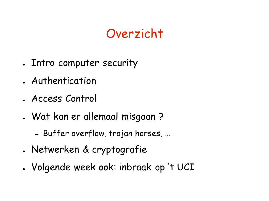 Overzicht ● Intro computer security ● Authentication ● Access Control ● Wat kan er allemaal misgaan ? – Buffer overflow, trojan horses, … ● Netwerken
