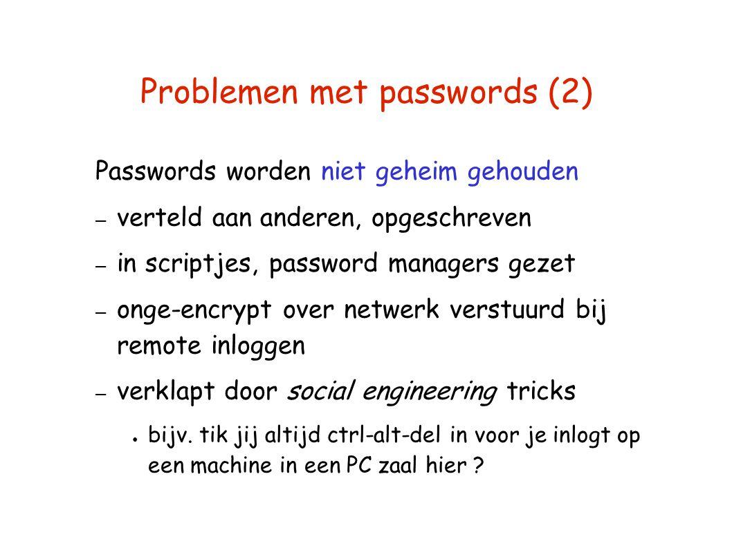 Problemen met passwords (2) Passwords worden niet geheim gehouden – verteld aan anderen, opgeschreven – in scriptjes, password managers gezet – onge-e