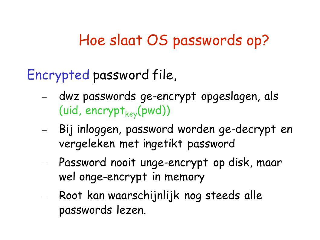 Hoe slaat OS passwords op? Encrypted password file, – dwz passwords ge-encrypt opgeslagen, als (uid, encrypt key (pwd)) – Bij inloggen, password worde