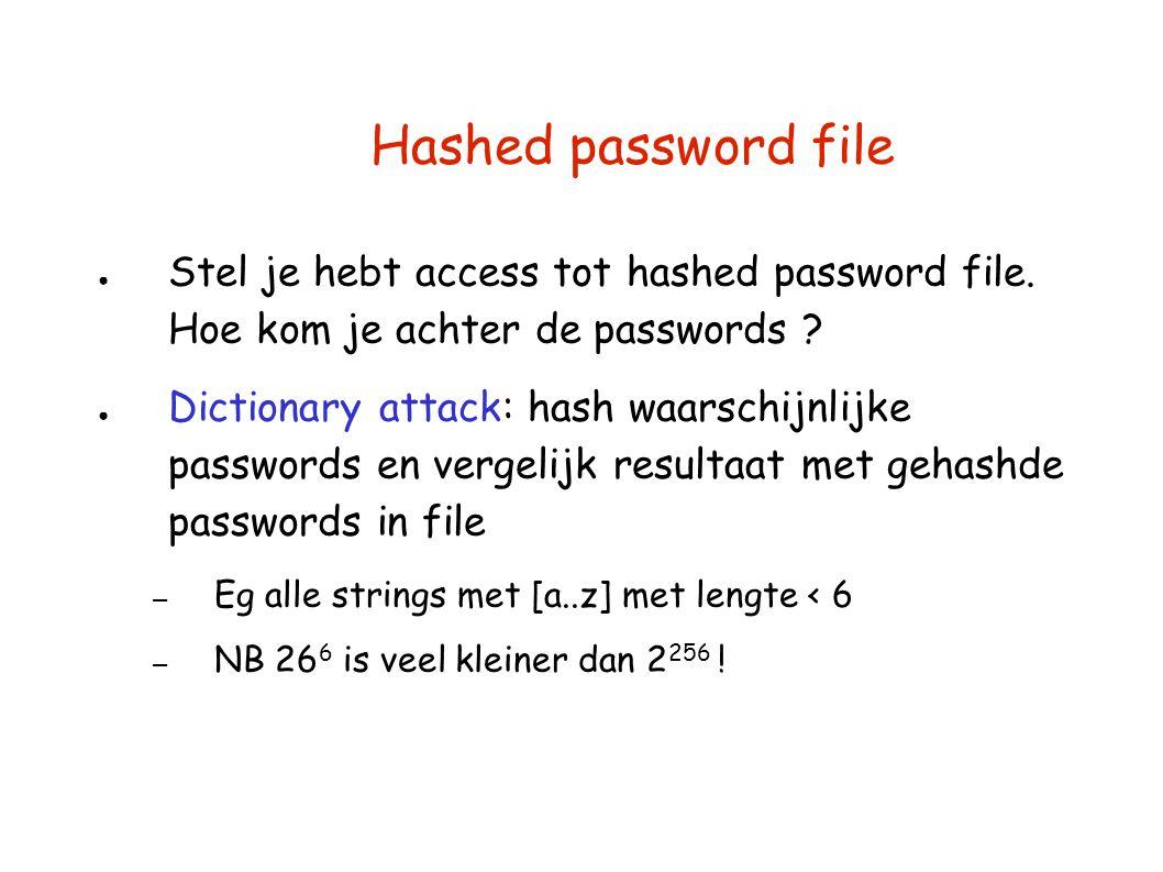 Hashed password file ● Stel je hebt access tot hashed password file. Hoe kom je achter de passwords ? ● Dictionary attack: hash waarschijnlijke passwo