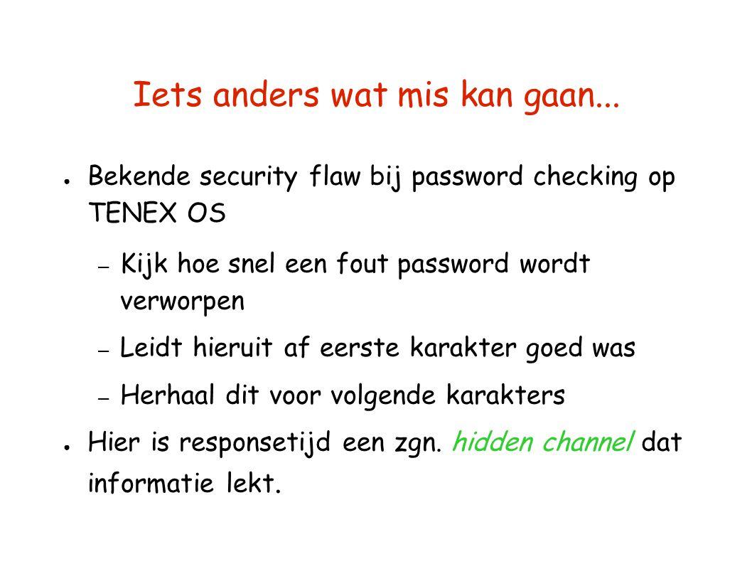 Iets anders wat mis kan gaan... ● Bekende security flaw bij password checking op TENEX OS – Kijk hoe snel een fout password wordt verworpen – Leidt hi