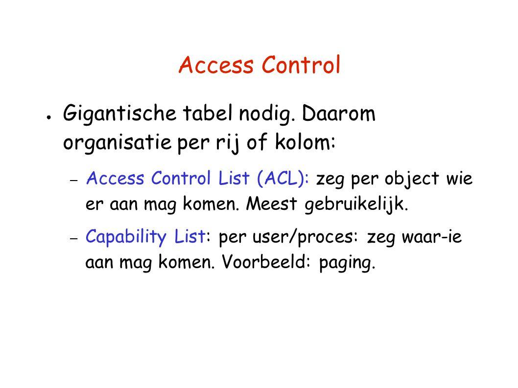 Access Control ● Gigantische tabel nodig. Daarom organisatie per rij of kolom: – Access Control List (ACL): zeg per object wie er aan mag komen. Meest