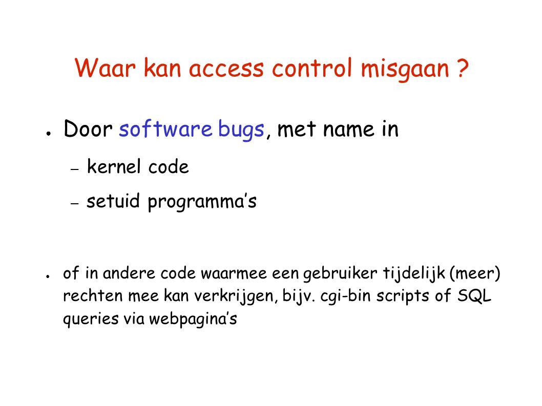 Waar kan access control misgaan ? ● Door software bugs, met name in – kernel code – setuid programma's ● of in andere code waarmee een gebruiker tijde