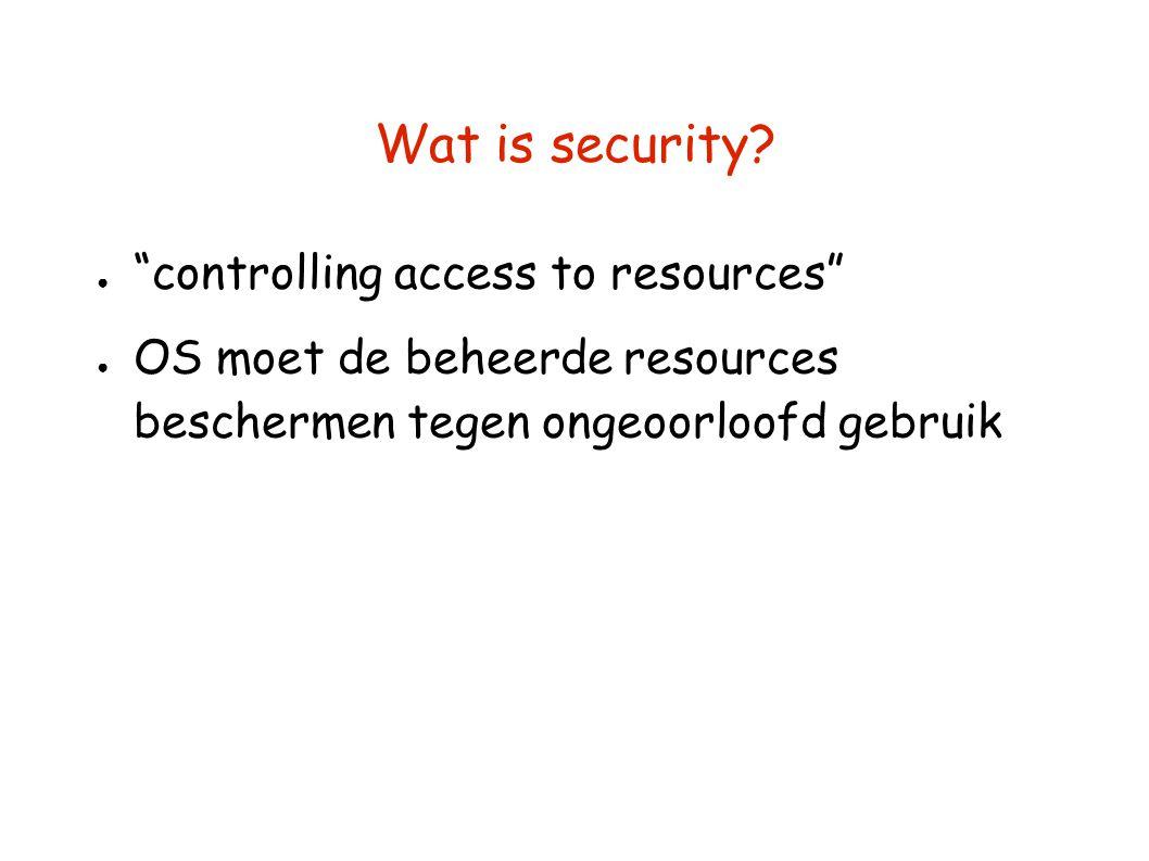 """Wat is security? ● """"controlling access to resources"""" ● OS moet de beheerde resources beschermen tegen ongeoorloofd gebruik"""