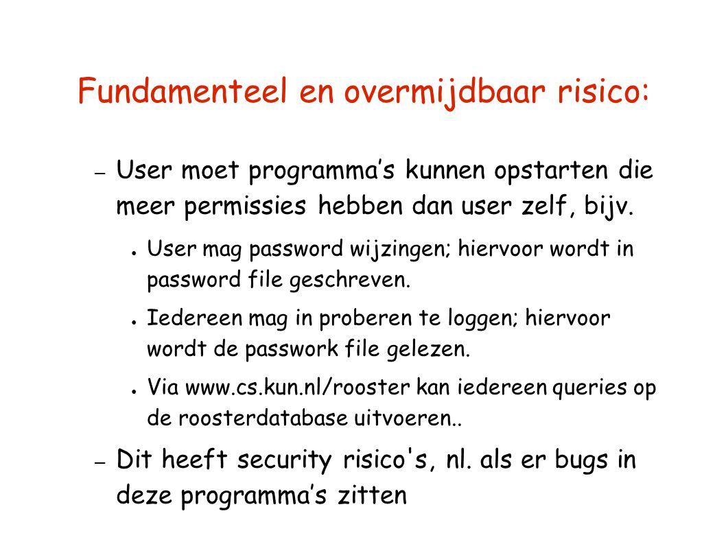 Fundamenteel en overmijdbaar risico: – User moet programma's kunnen opstarten die meer permissies hebben dan user zelf, bijv. ● User mag password wijz