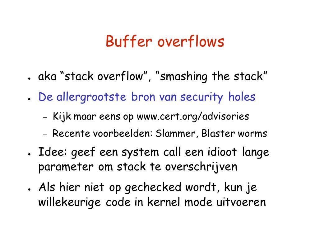 """Buffer overflows ● aka """"stack overflow"""", """"smashing the stack"""" ● De allergrootste bron van security holes – Kijk maar eens op www.cert.org/advisories –"""