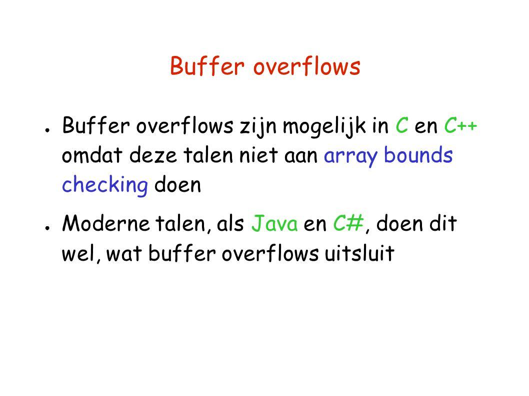 Buffer overflows ● Buffer overflows zijn mogelijk in C en C++ omdat deze talen niet aan array bounds checking doen ● Moderne talen, als Java en C#, doen dit wel, wat buffer overflows uitsluit